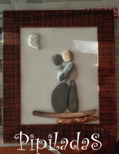 reciclado de lámina cuadro con piedras