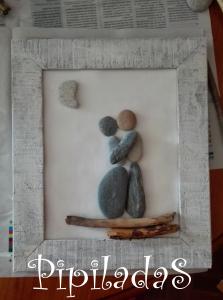 reciclar cuadro con piedras y maderas