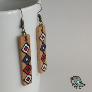 pendientes de madera hechos a mano artesanía merindades